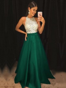 Ball Gown Halter Open Back Dark Green Satin Long Prom Dresses with Pockets, Beading Evening Dresses