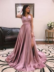 A Line V Neck Spaghetti Straps Cross Back Blush Long Prom Dresses, Elegant Evening Dresses with Train