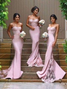 Mermaid Sweetheart Backless Blush Lace Long Bridesmaid Dresses with Train Under 100