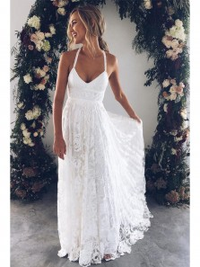Charming A-line Straps Flowy Ivory Lace Long Wedding Dress with Cross Back, Beach Wedding Dresses WD102