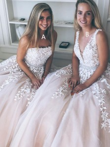 Princess A-line Tulle Pink Long Prom Dress with White tulle Appliques Wedding Dress Hot Sell