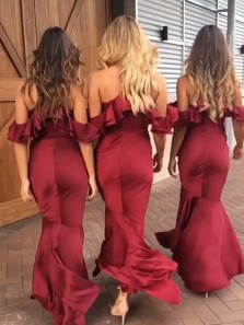 Gorgeous Straps V Neck Wine Red /Burgundy Mermaid Long Bridesmaid Dress, Elegant Evening Formal Dress BM002