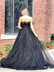 Sparkly Ball Gown Strapless Black Sequins Tulle Prom Dresses with Plume