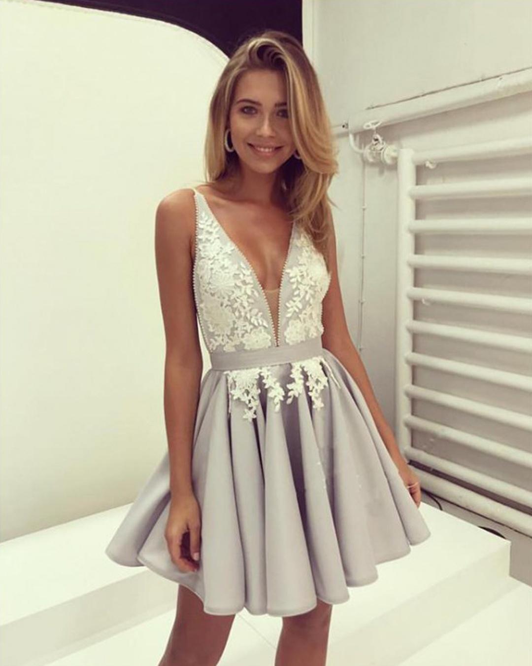 A-Line Sexy Deep-V-Neck Grey Short Prom Dresses Evening Party Dress, Short Homecoming Dresses