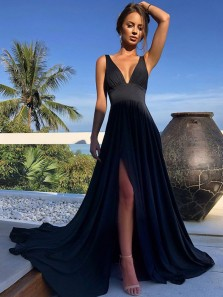 Elegant A Line V Neck Black Elastic Satin Long Prom Dresses, Split Evening Party Dresses