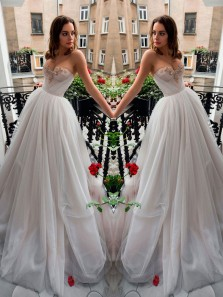 Cute Charming Sweetheart Wedding Dress, Light Grey Tulle Long Wedding Gown with Applique