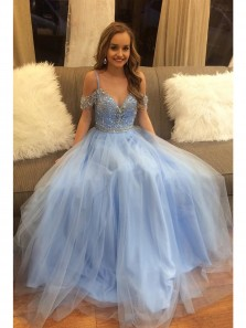 Elegant Off the Shoulder V Neck Delicate Beading Light Blue A-line Floor Length Custom Long Evening Prom Dresses PM008