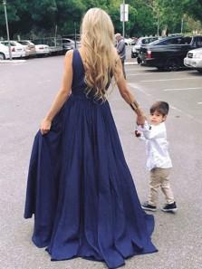 Cute A Line Deep V Neck Navy Blue Satin Long Prom Dresses