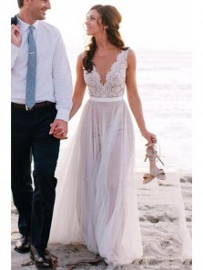 Elegant Scoop Neck Lace A Line Tulles Flowy Beach Wedding Dresses with Button WD0015