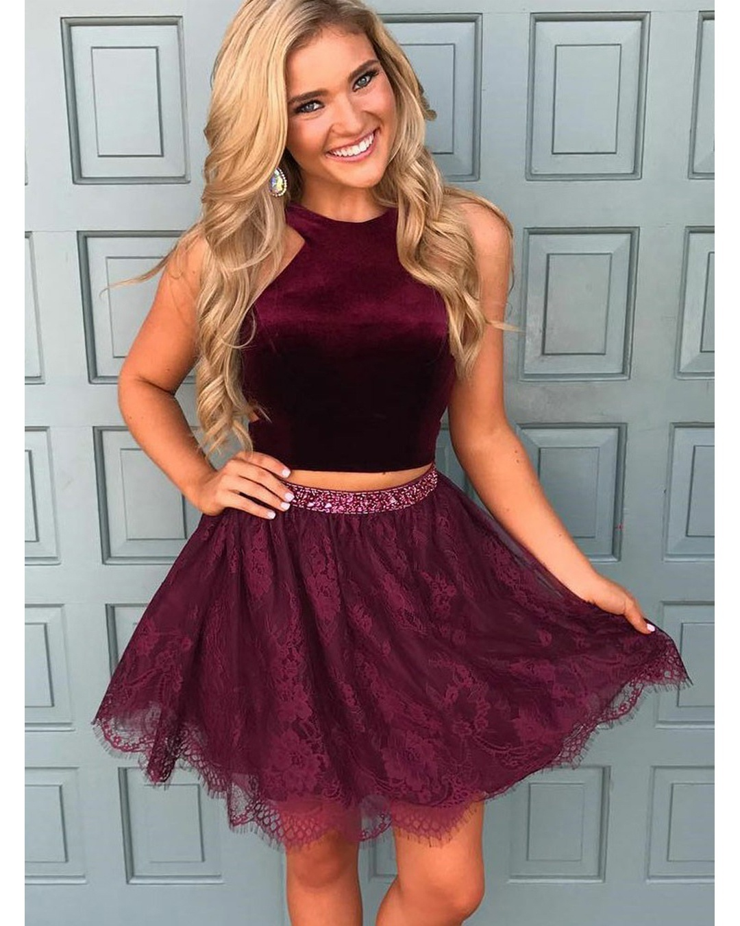 Cute A Line Two Pieces Maroon Homecoming Dresses,Short ...