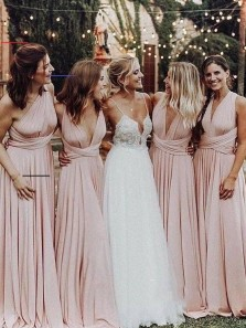 Elegant A Line V Neck Elastic Satin Pink Pleats Long Bridesmaid Dresses Convertible Maxi Dress BD0914003