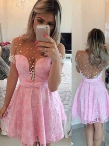 Cute A-line Pink Scoop Short Mini Tulle Homecoming Dress With Lace and Beading