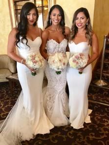 Elegant Mermaid Sweetheart Spaghetti Straps Soft Satin Long Bridesmaid Dresses