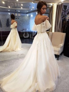 Fairy A Line Off the Shoulder Lace Wedding Dresses, Ruffled Sleeves Wedding Dresses
