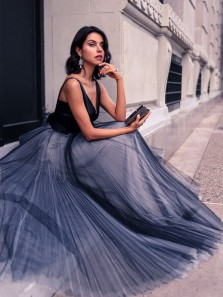 Simple A Line V Neck Dark Navy Satin Tulle Long Prom Dresses, Modern Evening Dresses