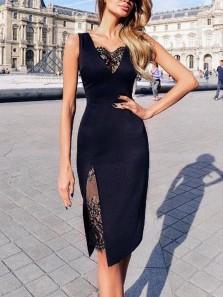 Sheath Black Lace Knee Length Split Wedding Guest Dresses, Elegant Prom Dresses WGD1710002