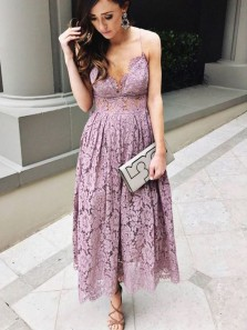 Sheath V Neck Spaghetti Straps Dusty Pink Lace Wedding Guest Dresses, Outfits Dresses WGD1710001