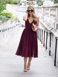 Elegant A Line V Neck Spaghetti Straps Burgundy Chiffon Tea Length Wedding Guest Dresses, Party Dresses Under 100