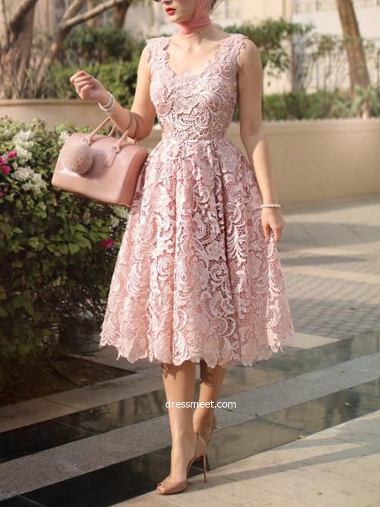 Tea Length A Line V Neck Blush Pink Wedding Guest Dresses Cocktail Dresses Wgd1712001 Dressmeet Com