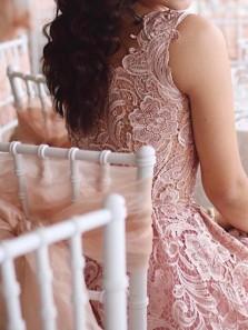 Tea Length A Line V Neck Blush Pink Wedding Guest Dresses, Cocktail Dresses WGD1712001