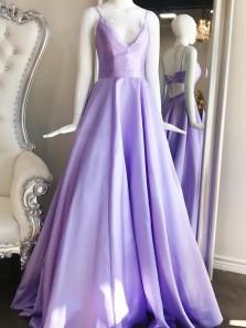 A Line V Neck Cross Back Light Blue Long Prom Dresses with Pockets, Simple Satin Graduation Dresses PD0125003