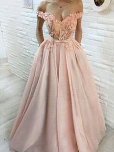 Gorgeous Ball Gown Off the Shoulder Blush Pink Long Prom Dresses with Appliques, Elegant Quinceanera Dresses PD1712001