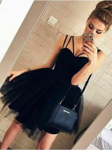 Cute A Line Sweetheart Spaghetti Straps Black Tulle Short Dresses, Fashion Outfits, Short Homecoming Dresses