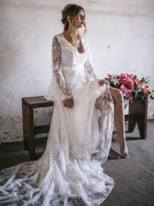 BOHO V Neck Long Sleeves Lace Wedding Dresses, Summer Wedding Dresses