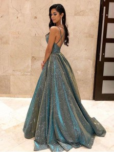 2020 Fashion Ball Gown V Neck Sparkly Satin Long Prom Dresses with Pockets, Cross Back Evening Dresses PD1718002