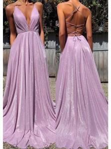 Modern A Line V Neck Cross Back Lavender Long Prom Dresses with Pockets, Formal Evening Dresses PD1718001