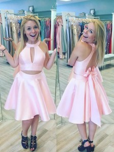 Cute A Line Pink Fashionable Satin Jewel Neckline 2 Pieces A-line Homecoming Dresses With Bowknot