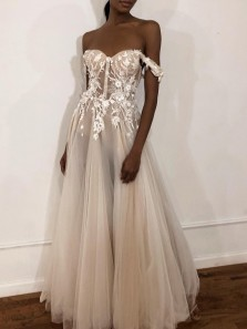 See Through Ball Gown Sweetheart Off the Shoulder Ivory Wedding Dresses with Lace