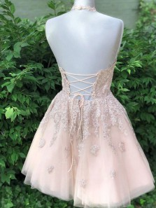 Cute A Line Halter Cross Back Champagne Lace Short Homecoming Dresses with Appliques