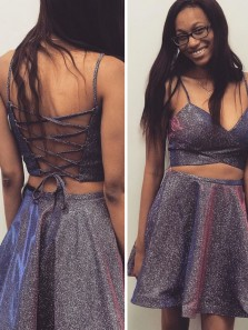 Sparkly A Line Two Piece V Neck Cross Back Spaghetti Straps Short Homecoming Dresses with Pockets