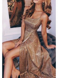 Sparkly A Line Spaghetti Straps Gold Long Prom Dresses with Split, Gorgeous Evening Party Dresses