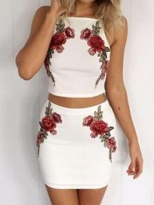 Cute Sheath Two Piece Spaghetti Straps White & Black Mini Dresses, Fashion Outfits, Cocktail Dresses HD1820003