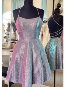 Cute A Line Spaghetti Straps Cross Back Sparkly Short Homecoming Dresses Under 100, Simple Cocktail Dresses HD1826001