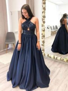 Ball Gown Halter Open Back Navy Blue Satin Long Prom Dresses with Beading, Elegant Evening Dresses