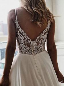 Vintage V Neck Spaghetti Straps Beading & Lace Wedding Dresses WD1828001