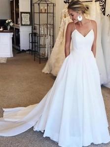 Elegant Ball Gown V Neck Spaghetti Straps White Soft Satin Wedding Dresses with Train, Wedding Dresses with Pockets