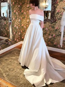 Ball Gown Off the Shoulder White Satin Long Wedding Dresses with Pockets WD1829001