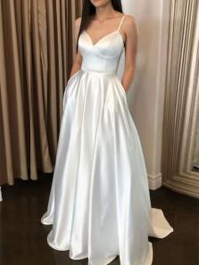 Ball Gown V Neck Spaghetti Straps Ivory Satin Long Prom Dresses with Pockets, Elegant Wedding Dresses PD1829001