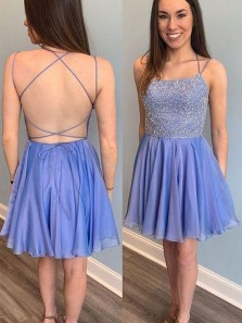 Cute A Line Cross Back Light Blue Short Homecoming Dresses, Sparkly Short Prom Dresses HD1830001