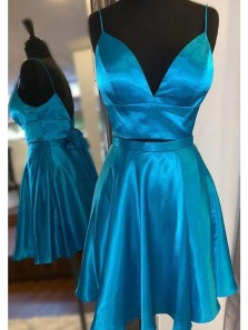 Cute A Line V Neck Spaghetti Straps Blue Short Homecoming Dresses Under 100, Two Piece Open Back Mini Prom Dresses with Pockets