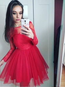 A-Line Jewel Long Sleeves Red Short Homecoming Dress With Lace