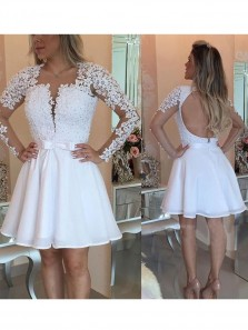 A-Line Round Neck Long Sleeves White Chiffon Short Homecoming Dress with Appliques Beading