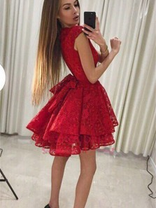 Cute A Line Round Neck Red Lace Short Homecoming Dresses, Short Prom Dresses