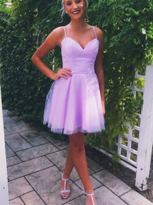 Cute Sweetheart Spaghetti Straps Lavender Short Homecoming Dresses Under 100, Simple Short Prom Dresses