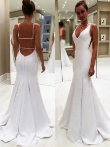 Elegant Mermaid V Neck Spaghetti Straps White Prom Dresses with Beading, Formal Evening Dresses