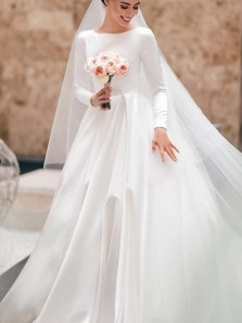 Elegant Ball Gown Scoop Neck Open Back Long Sleeves Ivory Satin Wedding Dresses with Pockets WD1908001